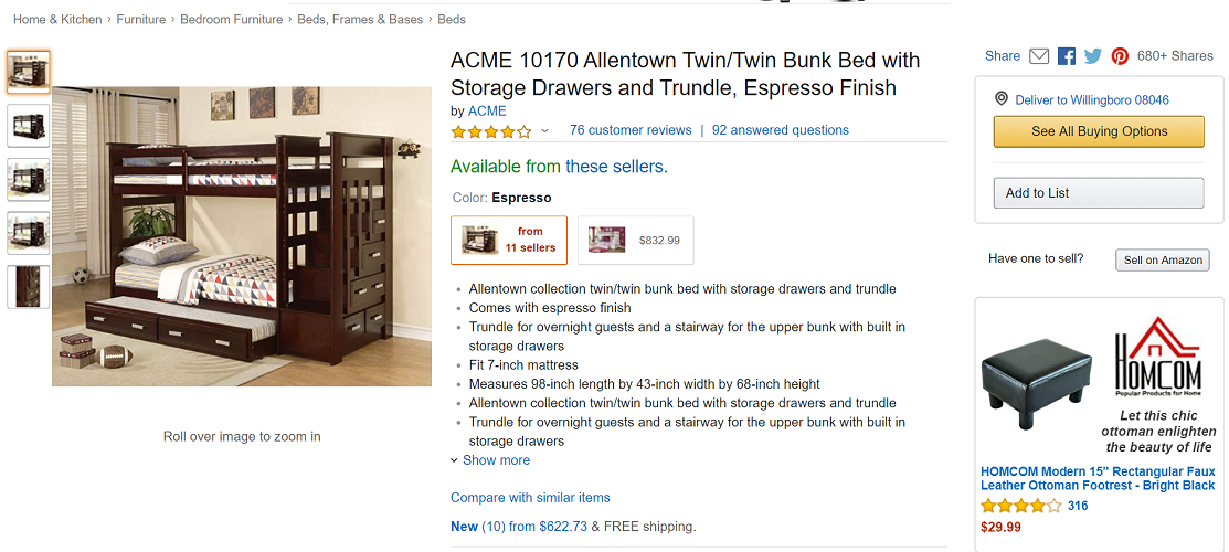 ACME 10170 Allentown Twin-Twin Bunk Bed with Storage Drawers and Trundle