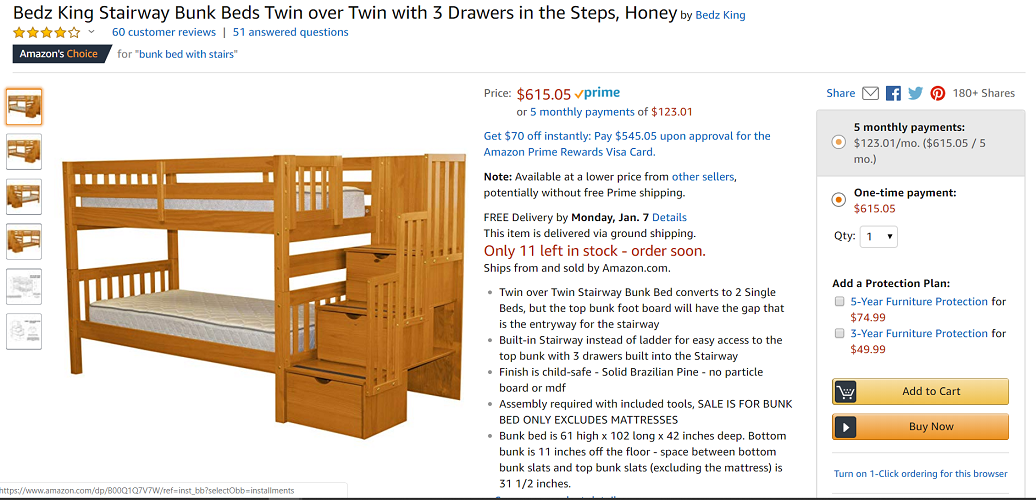 Bedz King Stairway Bunk Beds Twin Over Twin With Drawers