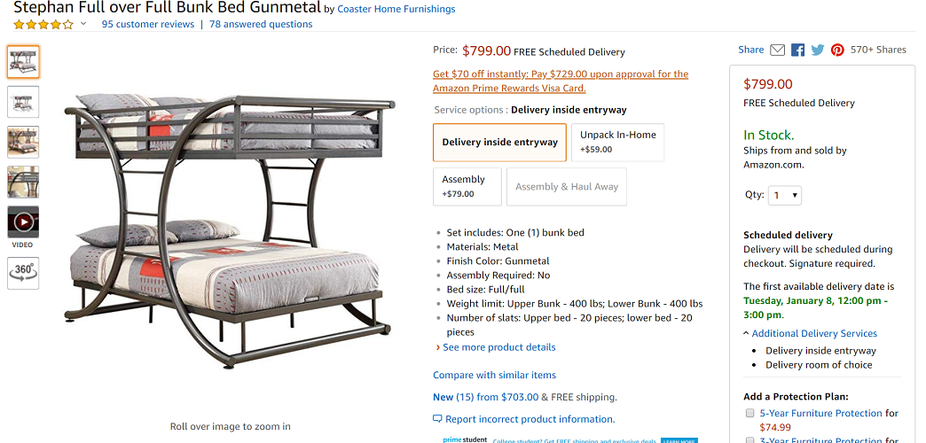 Coaster Home Furnishings Stephan Full over Full Bunk Bed Gunmetal