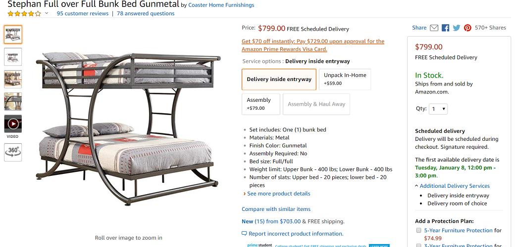 Coaster Home Furnishings Stephan Full over Full Bunk Bed Gunmetal
