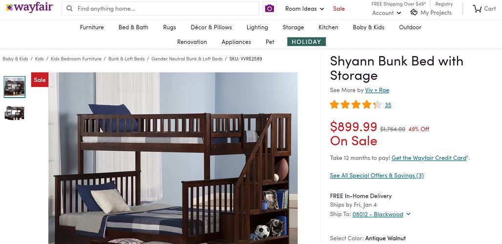 Viv + Rae Shyann Bunk Bed with Storage