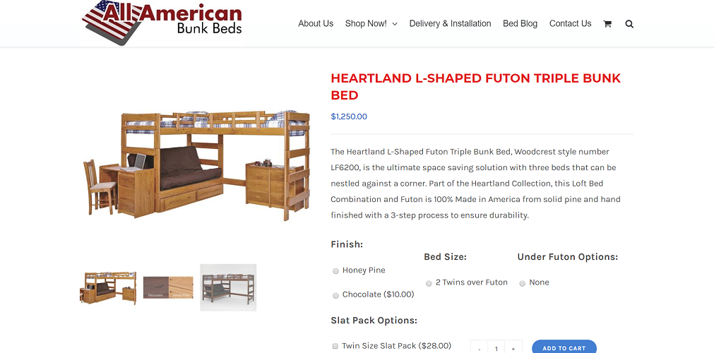 Woodcrest Heartland L-Shaped Futon Triple Bunk Bed