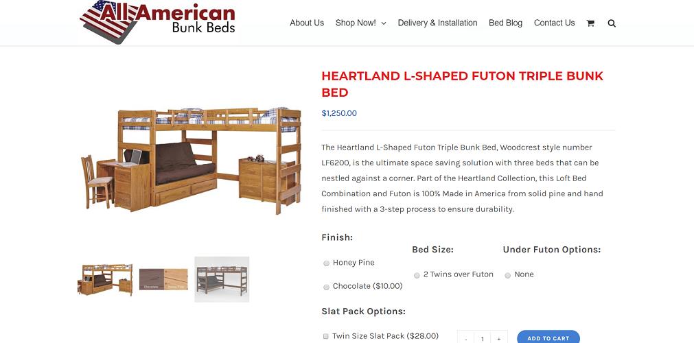 Woodcrest Heartland L-Shaped Futon Triple Bunk Bed