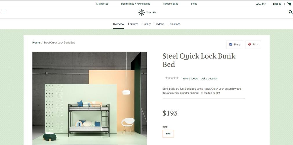Zinus Steel Quick Lock Bunk Bed