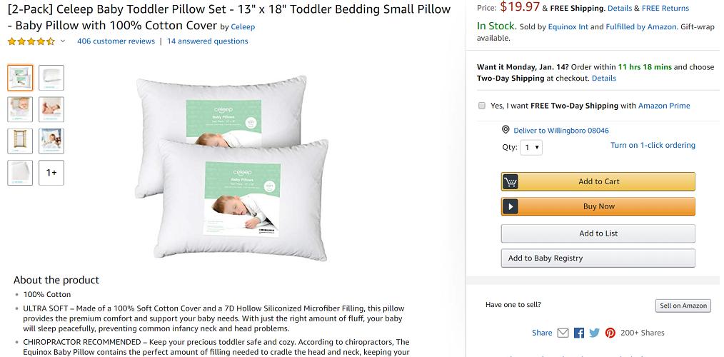 Celeep Baby Pillow