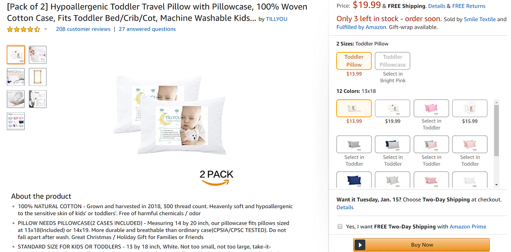 TILLYOU Toddler Pillow