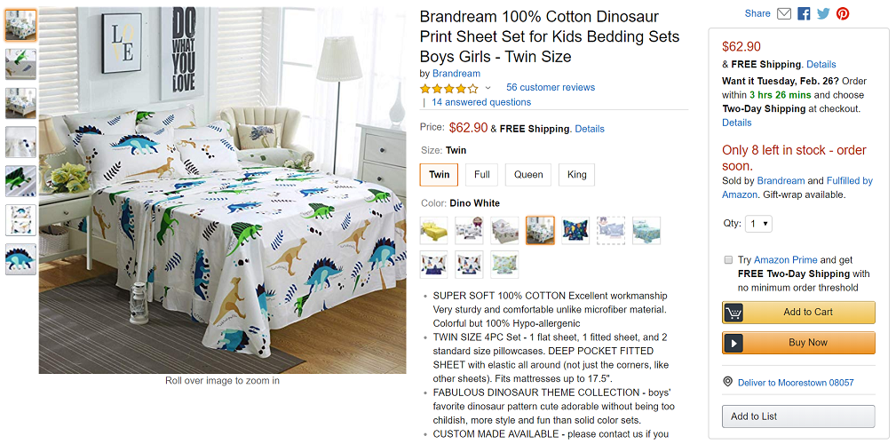 Brandream Kids Printed Cotton Sheet Sets