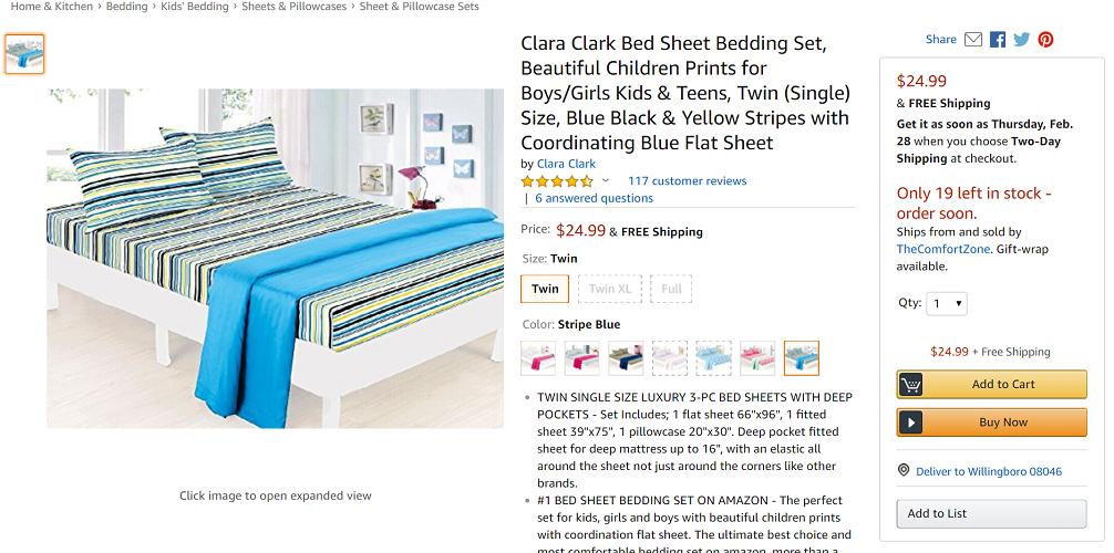 Clara Clark Bed Sheet Coordinating Set