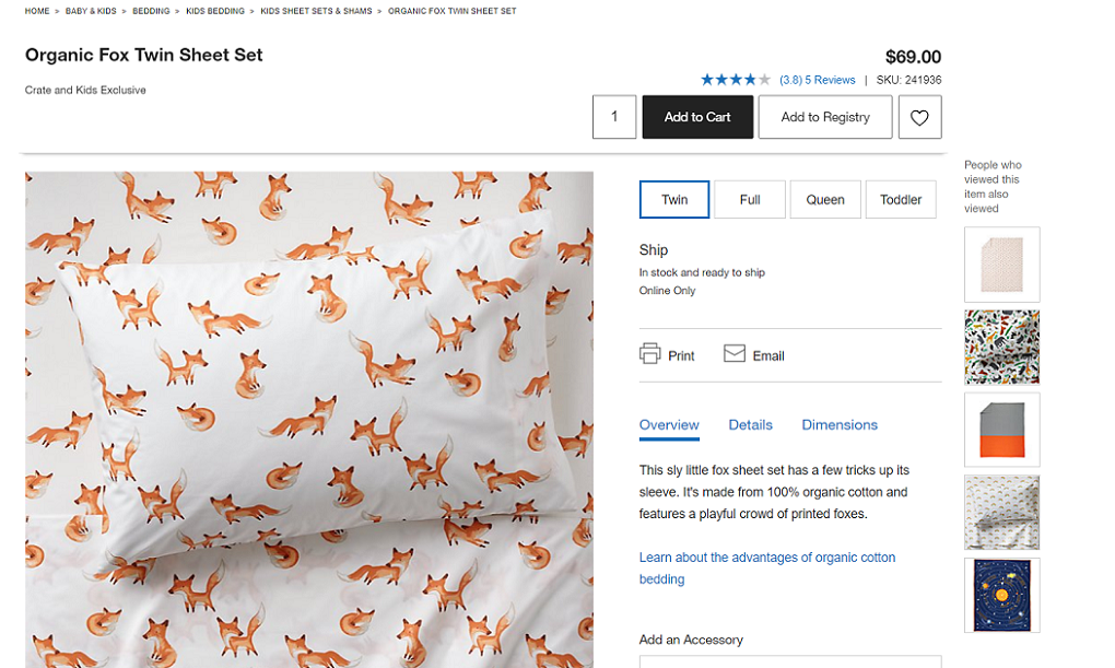 Crate & Barrel Kids Organic Cotton Sheet Sets