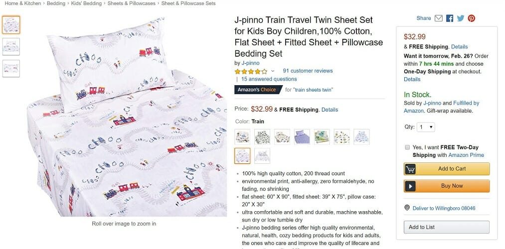 J-pinno Twin Sheet Set for Kids