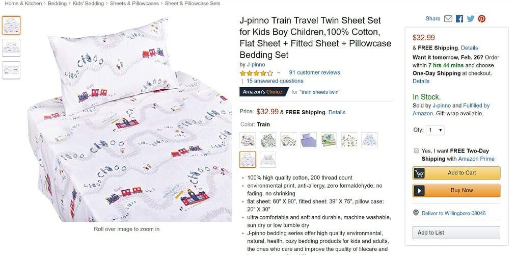 J-pinno Twin Sheet Set for Kids