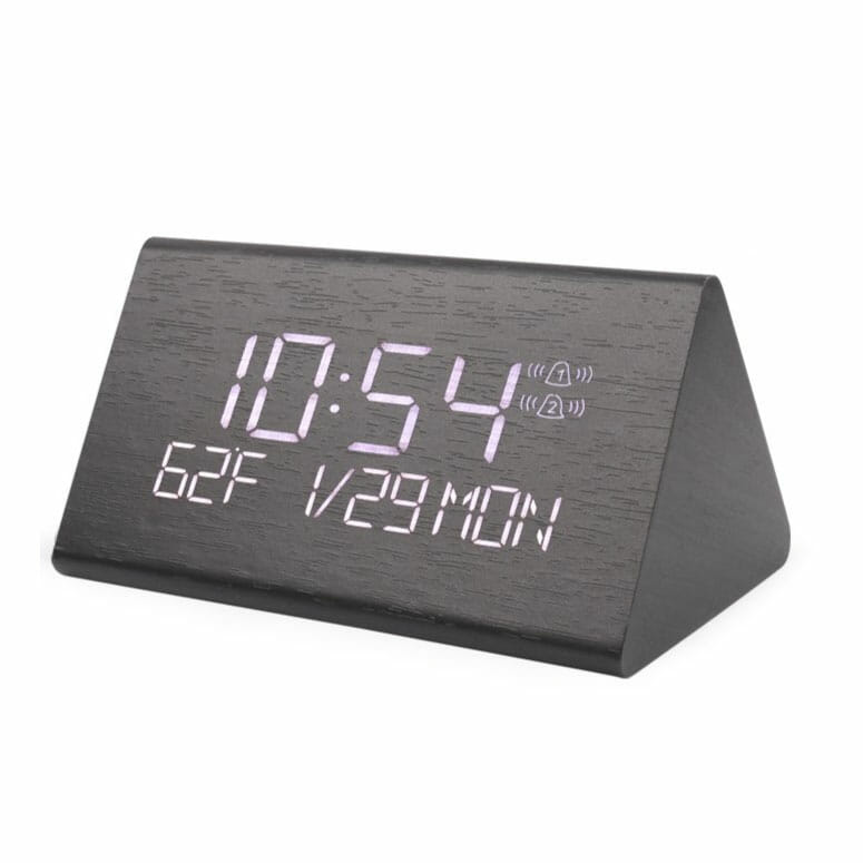 Warmhoming 2019 Updated Wooden Digital Alarm Clock