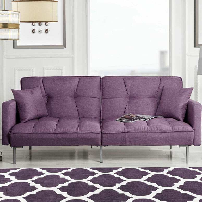 Divano Roma Furniture Collection Modern Plush Tufted Sleeper Futon