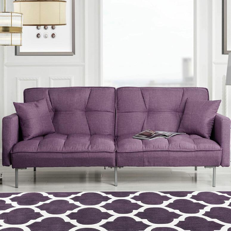 Divano Roma Furniture Collection Modern Plush Tufted Sleeper Futon