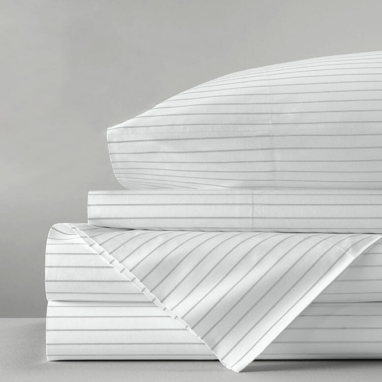 Boll & Branch Percale Simple Stripe Sheet Set