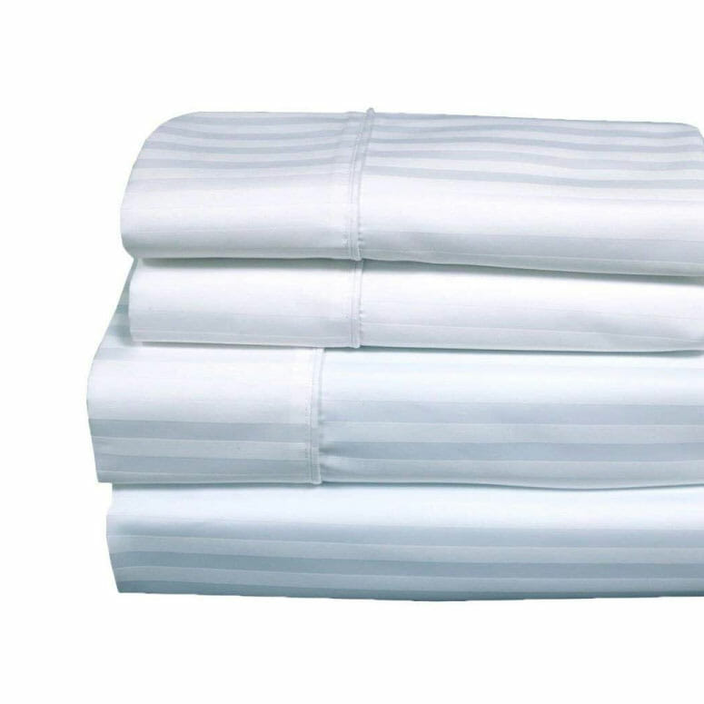 Royal's Stripe White 1000 Thread Count Bedsheet Set