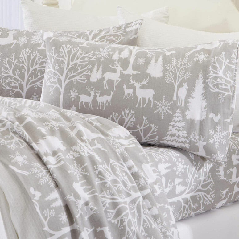 Great Bay Home Extra Soft Enchanted Woods 100% Turkish Cotton Flannel Sheet Set