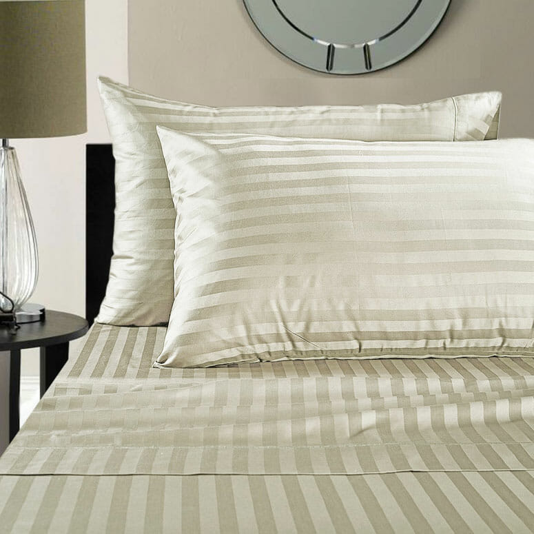 Addy Home Fashions Egyptian Cotton 500 Thread Count Damask Stripe Sheet Set