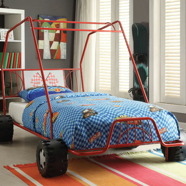 Xander Twin Car Bed Red Metal Dune Buggy Frame