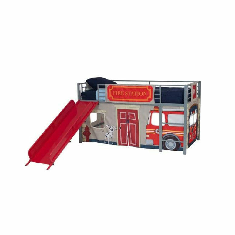 Dorel Boys' Fire Department Twin Loft Bed with Slide