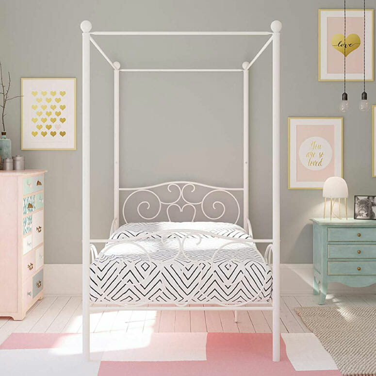 DHP Canopy Bed with Sturdy Bed Frame
