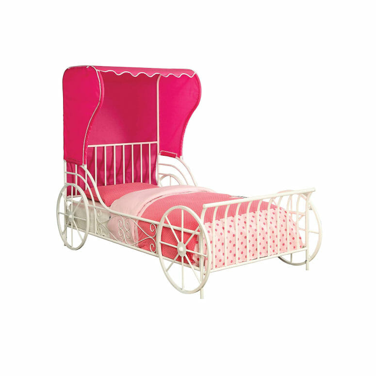 Furniture of America Paige White Metal Carriage Bed