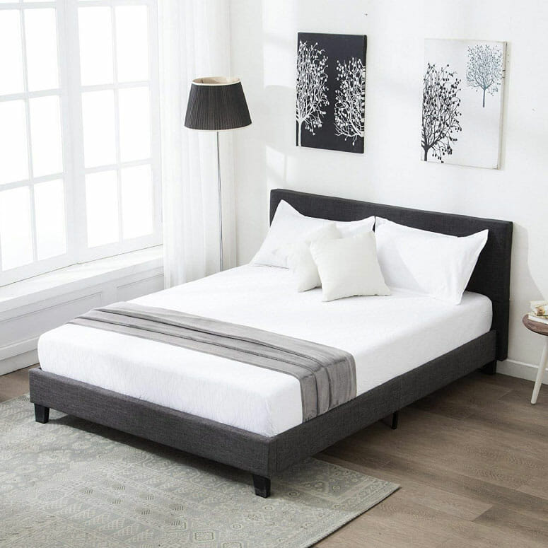 Mecor Upholstered Linen Full Platform Bed Metal Frame