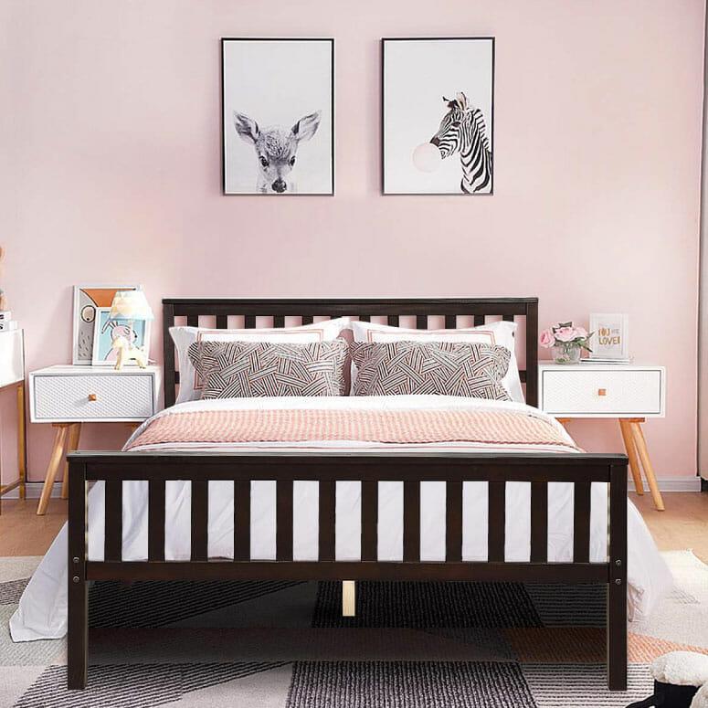 Giantex Deluxe Solid Wood Platform Bed