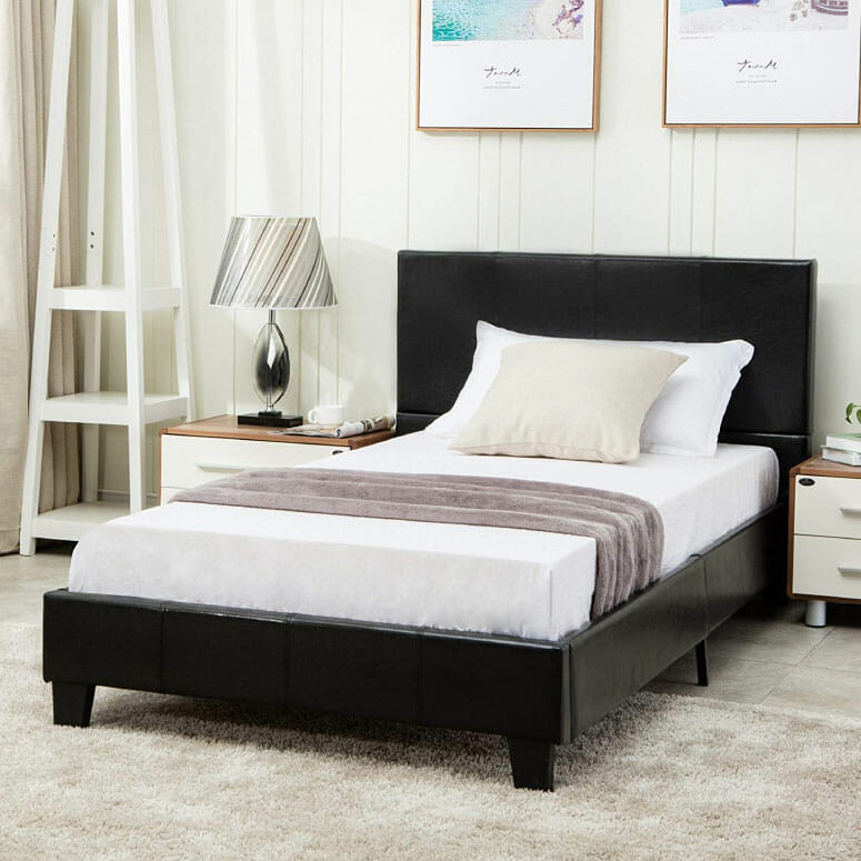 Mecor Faux Leather Bonded Platform Bed Frame