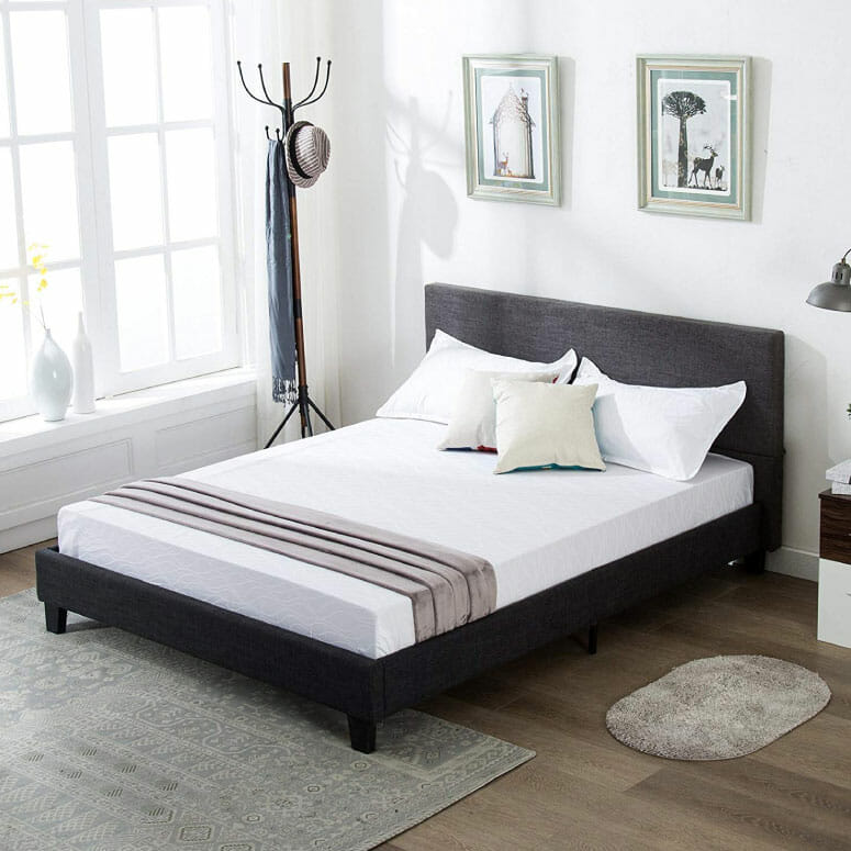 Mecor Upholstered Linen Platform Bed Frame