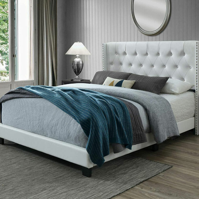 DG Casa Bardy Diamond Tufted Upholstered Wingback Panel Bed Frame