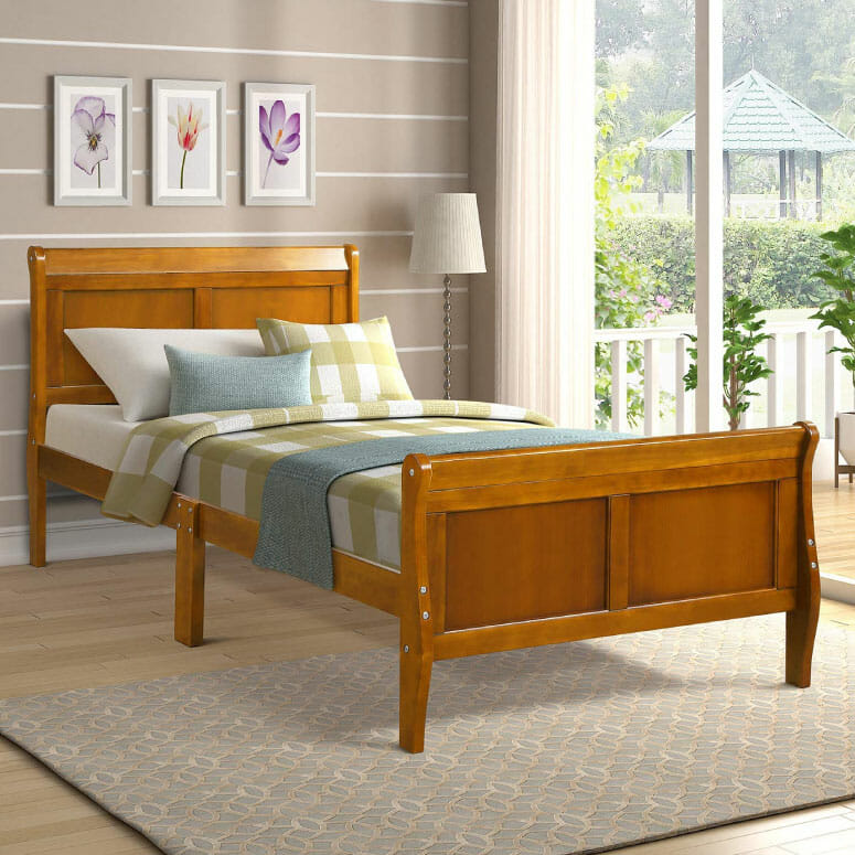 Harper & Bright Designs Wood Platform Bed Twin Bed Frame Mattress Foundation Sleigh Bed